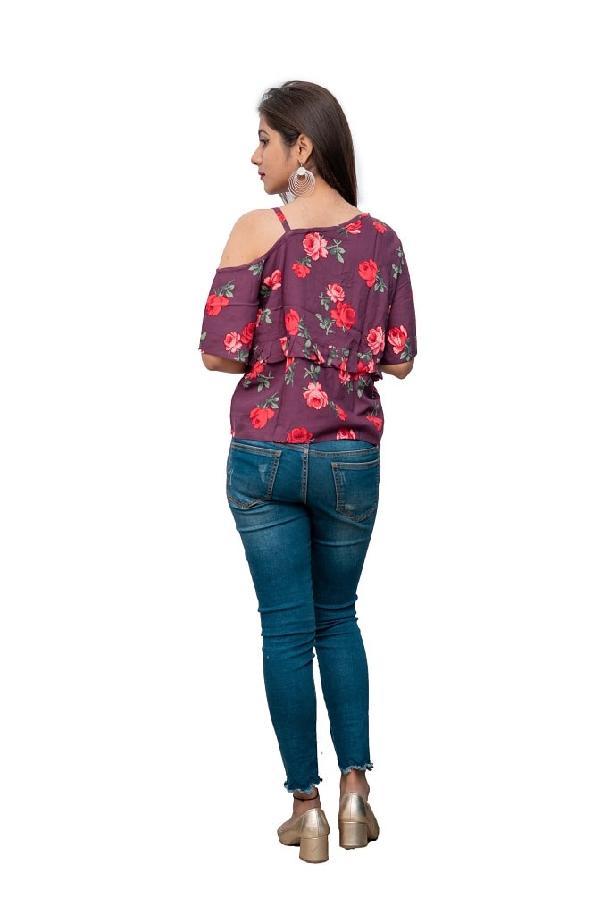 a5ff1eace03 Buy Wine Floral Printed One Side Strap Top at Best Price in India